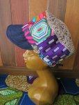画像1: アフリカ*パッチワーク帽子*ピンク×デニム (1)