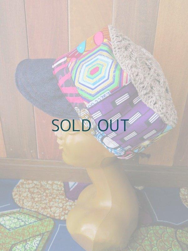画像1: アフリカ*パッチワーク帽子*ピンク×デニム