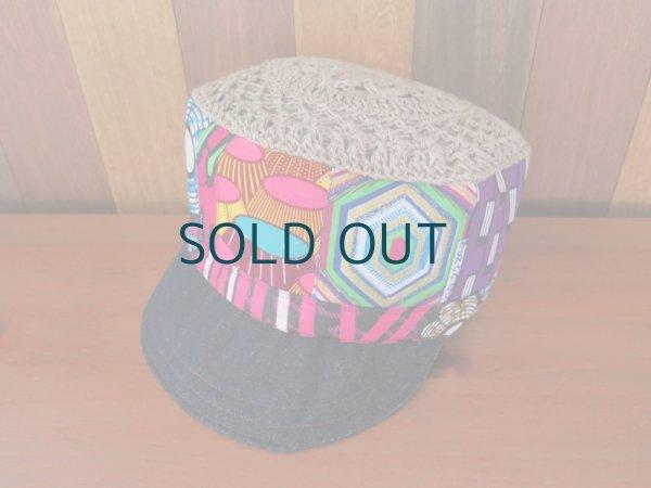 画像2: アフリカ*パッチワーク帽子*ピンク×デニム