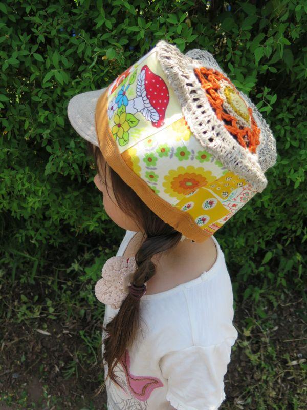 画像1: 子供用☆きのこパッチ帽子☆オレンジ