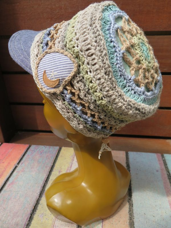 画像1: マンダラと月のパッチワーク帽子*水色×ストライプ