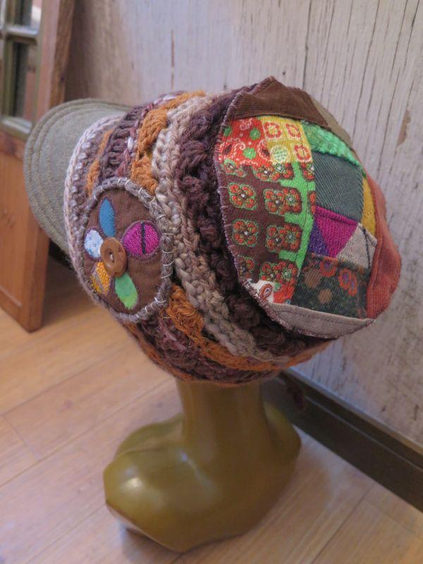 画像1: レトロパッチワーク*お花*つば付き帽子