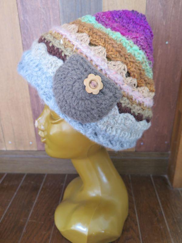 画像1: お花ボタンのあったかニット帽