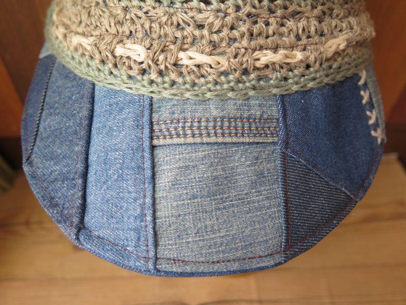 画像2: ネイティブ柄*デニムパッチワークつば帽子