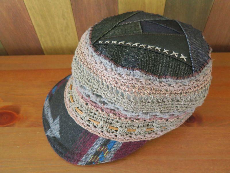 画像2: ネイティブ柄*デニムパッチワークつば帽子*ブラック