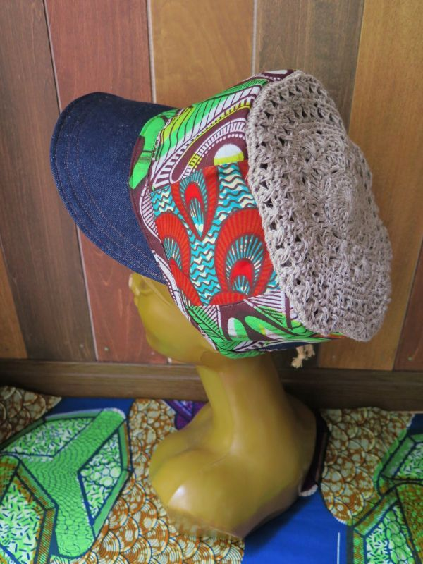 画像1: アフリカ*パッチワーク帽子*みどり×デニム