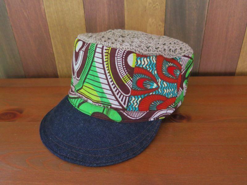 画像2: アフリカ*パッチワーク帽子*みどり×デニム